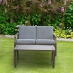 New 2 Pieces Outdoor Furniture Set with Metal Frame, Including Loveseat, and Coffee Table, for Garden, Terrace, Porch, Poolside, Beach – Mushroom