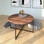 New 35″ Round Wooden Coffee Table, with Metal Frame, for Kitchen, Restaurant, Office, Living Room, Cafe – Dark Brown
