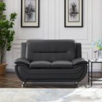 New 61.4″ 2-Seat PU Leather Sofa with Wooden Frame, and Metal Legs, for Living Room, Bedroom, Office, Apartment – Dark Gray