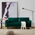 New 75.6″ 3-Seat Velvet Fabric Upholstered Sofa with Armrests and Solid Wood Legs for Apartment, Office, Living Room, Bedroom – Emerald