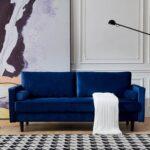 New 75.6″ 3-Seat Velvet Upholstered Sofa with Wooden Frame, for Living Room, Bedroom, Office, Apartment – Blue