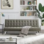New 70.5″ PU Leather Sofa Bed with Wooden Frame, and Metal Legs, for Living Room, Bedroom, Office, Apartment – Gray