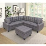 New 83.9″ 6-Seat Upholstered L-shaped Sectional Sofa with Ottoman, and Wooden Frame, for Living Room, Bedroom, Office, Apartment – Gray