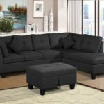New 105.1″ Linen Fabric Upholstered Sofa Set, with Right Hand Chaise, and Storage Ottoman, for Living Room, Bedroom, Office, Apartment – Black
