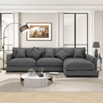 New 85.8″ 3-Seat Polyester Upholstered Sectional Sofa with 5 Pillows, and Wooden Frame, for Living Room, Bedroom, Office, Apartment – Dark Gray