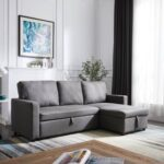 New 85″ Polyester Upholstered Sectional Sofa Bed with Storage Chaise, Wooden Frame, and Plastic Legs, for Living Room, Bedroom, Office, Apartment – Gray