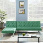 New 94.09″ Fabric Upholstered Sectional Sofa Bed with Wooden Frame, and Metal Legs, for Living Room, Bedroom, Office, Apartment – Green