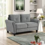 New 57.1″ 2-Seat Fabric Upholstered Sofa with Wooden Frame, for Living Room, Bedroom, Office, Apartment – Gray