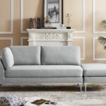 New 89.4″ Suede Upholstered Sofa with Left Armrest, Ottoman, Wooden Frame, and Metal Feet, for Living Room, Bedroom, Office, Apartment – Gray