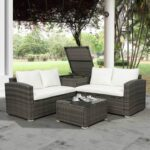 New TOPMAX 4 Pieces Outdoor Rattan Furniture Set, Including 2 Loveseat Sofas, Coffee Table, and Storage Box, for Garden, Terrace, Porch, Poolside – Beige