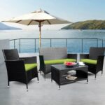 New TOPMAX 4 Pieces Outdoor Wicker Sofa Set, Including 2 Armchairs, 2-seat sofa, Coffee Table, and 3 Cushions, for Garden, Terrace, Porch, Poolside – Green + Black