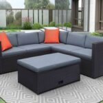 New TOPMAX 4 Pieces Outdoor Rattan Furniture Set, Including 2 x 2-seat Sofa, 1-seat Sofa, and Coffee Table, for Garden, Terrace, Porch, Poolside – Gray
