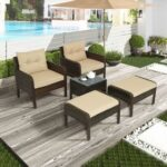 New TOPMAX 5 Pieces Outdoor Wooden Furniture Set, Including 2 Chairs, 2 Ottomans, and Coffee Table, for Garden, Terrace, Porch, Poolside – Brown