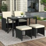 New TOPMAX 5 Pieces Outdoor Rattan Furniture Set, Including 2 High Backrest Chairs, Coffee Table, and 2 Ottomans, for Garden, Terrace, Porch, Poolside – Black + Beige