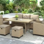 New 6 Pieces Outdoor Rattan Furniture Set, Including 2 Armchairs, 3-seat Sofa, Coffee Table, and 2 Stools, for Garden, Terrace, Porch, Poolside – Brown