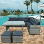 New TOPMAX 6 Pieces Outdoor Rattan Furniture Set, Including Corner Sofa, 2 Loveseats, 2 Ottomans, Coffee Table, and 12 Cushions, for Garden, Terrace, Porch, Poolside – Gray