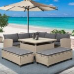 New TOPMAX 6 Pieces Outdoor Rattan Furniture Set, Including Corner Sofa, 2 Loveseats, Coffee Table, and 2 Benches, for Garden, Terrace, Porch, Poolside – Gray