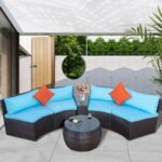 New TOPMAX 4 Pieces Outdoor Rattan Furniture Set, Including 2 2-seat Sofas, Tempered Glass Side Table, Round Coffee Table, 2 Pillows, and 6 Cushions, for Garden, Terrace, Porch, Poolside – Blue
