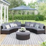 New TOPMAX 6 Pieces Outdoor Rattan Furniture Set, Including 4 Loveseats, Storage Side Table, Multifunctional Round Table, 8 Pillows, and 5 Cushions, for Garden, Terrace, Porch, Poolside – Brown + Gray