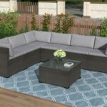 New TOPMAX 7 Pieces Outdoor Furniture Set, Including 3 Corner Chairs, 3 Middle Chairs, and 1 Coffee Table, for Garden, Terrace, Porch, Poolside – Black