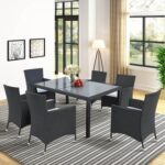 New TOPMAX 7 Pieces Outdoor Rattan Furniture Set, Including 6 Armchairs, Coffee Table, and 6 Cushions, for Garden, Terrace, Porch, Poolside – Black