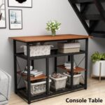 New TOPMAX Multifunctional Counter Height Dining Table, with Storage Shelves – Brown