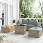 New TOPMAX 5 Pieces Outdoor Rattan  Furniture Set, Including 2 Corner Chairs, 2 Ottomans, Coffee Table, and 4 Cushions, for Garden, Terrace, Porch, Poolside – Brown + Gray
