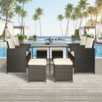 New TOPMAX 9 Pieces Outdoor Rattan Furniture Set, Including 4 Armchairs, Coffee Table, and 4 Stools, for Garden, Terrace, Porch, Poolside – Brown + Beige