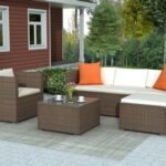New TOPMAX 4 Pieces Outdoor Rattan Furniture Set, Including Armchair, 3-seat Sofa, Coffee Table, and Ottoman, for Garden, Terrace, Porch, Poolside – Brown