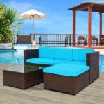 New TOPMAX 5 Pieces Outdoor Rattan Furniture Set, Including 3-seat Sofa, Ottoman, Tempered Glass Coffee Table, 4 Seat Cushions, and 3 Back Cushions, for Garden, Terrace, Porch, Poolside – Blue