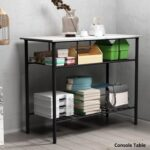 New TOPMAX Rustic Farmhouse Style Counter Height Dining Table, with 2-Layer Storage Shelves – White + Black