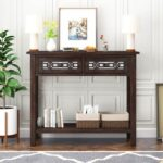 New TREXM 35.4″ Wooden Console Table with 2 Storage Drawers, and Bottom Shelf, for Entrance, Hallway, Dining Room, Kitchen – Espresso