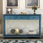 """New TREXM 51"""" Console Table with 3 Storage Drawers, and Bottom Shelf, for Entrance, Hallway, Dining Room, Kitchen – Navy"""
