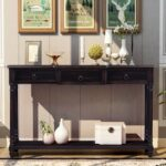 """New TREXM 51"""" Console Table with 3 Storage Drawers, and Bottom Shelf, for Entrance, Hallway, Dining Room, Kitchen – Espresso"""