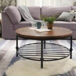 New 35.8″ Round Wooden Coffee Table, with Storage Shelf, and Metal Frame, for Kitchen, Restaurant, Office, Living Room, Cafe – Brown
