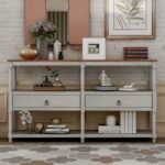 New TREXM 57″ Rustic Style Wooden Console Table with 2 Storage Drawers, and 3-Layer Open Shelf, for Entrance, Hallway, Dining Room, Kitchen – Gray