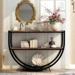 New TREXM 47.2″ Half-Moon Shape Console Table with Storage Shelf, for Entrance, Hallway, Dining Room, Kitchen – Brown