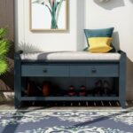 """New TREXM 39"""" Console Bench with 2 Storage Drawers and Mesh Shoe Shelf, for Entrance Hallway, Dining Room, Bedroom – Antique Navy"""