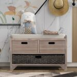 New TREXM 32″ Linen Blend Storage Bench with Removable Basket and 2 Drawers, for Entrance, Hallway, Bedroom – White Washed