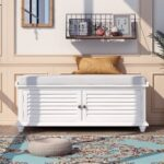 New TREXM 43.4″ Louver Design Upholstered Storage Bench with Removable Cushion, and Wooden Frame, for Entrance, Hallway, Bedroom, Living Room – White