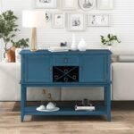 New TREXM 45″ Wooden Console Table with 1 Storage Drawer, 2 Cabinets, Wine Rack, and Bottom Shelf, for Entrance, Hallway, Dining Room, Kitchen – Blue