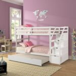 New Twin-Over-Twin Size Bunk Bed Frame with Trundle Bed, 3 Storage Stairs, and Wooden Slats Support, No Spring Box Required (Frame Only) – White