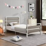 New Twin-Size Platform Bed Frame with Wooden Headboard and Metal Slats Support, No Box Spring Needed (Only Frame) – Gray