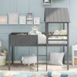 New Twin-Size House-Shaped Loft Bed Frame with Guardrail, Ladder, and Wooden Slats Support, Space-saving Design, No Box Spring Needed – Gray