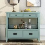 """New U-STYLE 36"""" Modern Style Wooden Console Table with 4 Storage Drawers, and Shelf, for Entrance, Hallway, Dining Room, Kitchen – Green"""