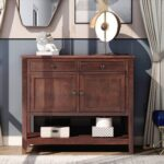 """New U-STYLE 39"""" Modern Style Wooden Console Table with 2 Storage Drawers, 2 Cabinets and Bottom Shelf, for Entrance, Hallway, Dining Room, Kitchen – Espresso"""