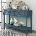 New U-STYLE 43″ Modern Style Wooden Console Table with 2 Storage Drawers, and Bottom Shelf, for Entrance, Hallway, Dining Room, Kitchen – Navy