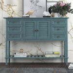 """New U-STYLE 45"""" Retro Style Wooden Console Table with 6 Storage Drawers, 1 Cabinets and Bottom Shelf, for Entrance, Hallway, Dining Room, Kitchen – Green"""