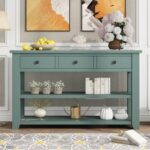 """New U-STYLE 48"""" Modern Style Wooden Console Table with 3 Storage Drawers, and 2 Shelves, for Entrance, Hallway, Dining Room, Kitchen – Green"""