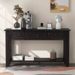 New U-STYLE 55″ Modern Style Wooden Console Table with 3 Storage Drawers, and Bottom Shelf, for Entrance, Hallway, Dining Room, Kitchen – Espresso